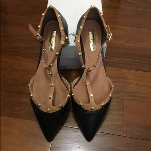 Halogen black leather and tan flats